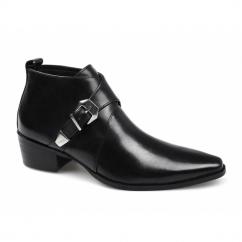 BERTRAM Mens Leather Cuban Heel Buckle Boots Black