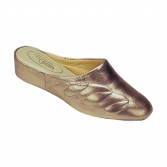 MAHON Ladies Leather Mule Slippers Pewter