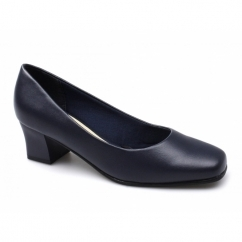 CARLY Ladies Mid Block Heel Court Shoes Navy