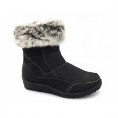 MIRIAM Ladies Faux Fur Warm Zip Winter Boots Black