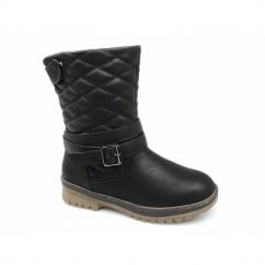 ROCIO Ladies Warm Lined Velcro Buckle Winter Boots Black