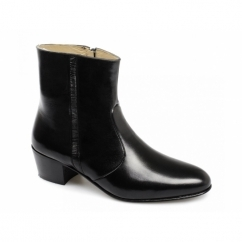 VALENTINO Mens Leather Cuban Heel Zip Boots Black