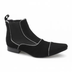 GIORGIO Mens Suede Pointed Chelsea Boots Black