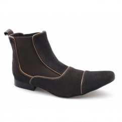 GIORGIO Mens Suede Pointed Chelsea Boots Brown