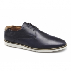 LISANDRO Mens Leather Lace-Up Gibson Shoes Navy