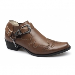 VENEZIA Mens Short Length Cowboy Boots Brown