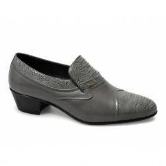 KIKO Mens Soft Leather Reptile Cuban Heel Shoes Grey
