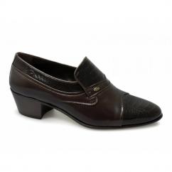 KIKO Mens Soft Leather Reptile Cuban Heel Shoes Brown