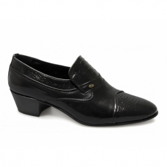 KIKO Mens Leather Reptile Cuban Heel Shoes Black