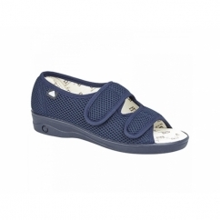 214 Ladies Extra Wide (EEE) Fit Touch Fastening Slippers Navy