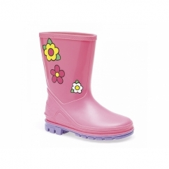 PUDDLE Girls Kids Floral Wellington Boots Pink