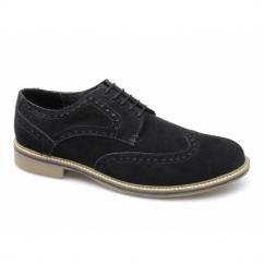 GODFREY Mens Suede Lace Up Brogue Shoes Black