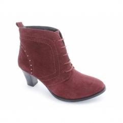 HATTIE Ladies Suede Block Heel Studded Boots Red