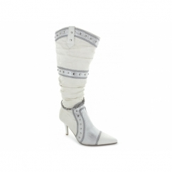 Ladies Stiletto Studded Chain Knee High Boots White