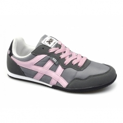 CASEY Ladies Nylon/Faux Suede Running Shoes Grey/Pink