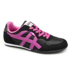 CASEY Ladies Nylon/Faux Suede Running Shoes Black/Fuchsia