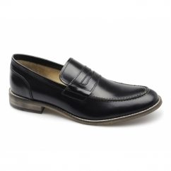 MARNER Mens Leather Penny Loafers Black
