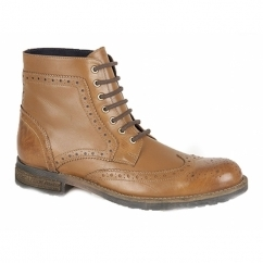 ARAGON Mens Leather Brogue Derby Boots Tan