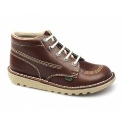 KICK HI Kids Leather Boots Dark Tan