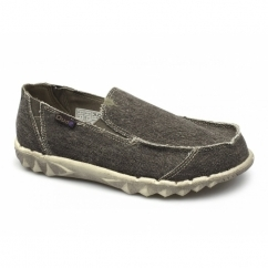 FARTY CLASSICS Mens Canvas Stonewash Wide Fit Shoes Chocolate