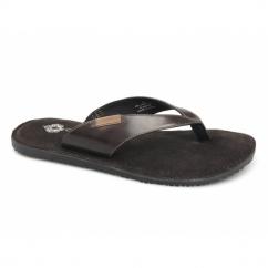 CLAUDIUS Mens Toe Post Padded Flip Flops Waxy Brown