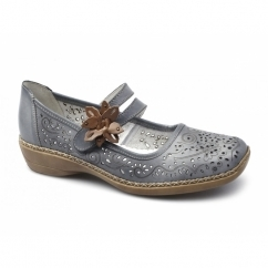 41372-12 Ladies Leather Touch Fasten Mary Jane Shoes Blue