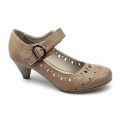 BUTTON Ladies Faux Leather Mary Jane Mid Heel Shoes Tan