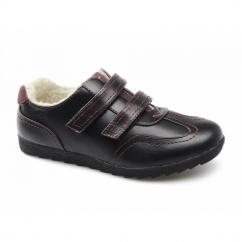ELM Ladies Faux Leather Velcro Fleece Lined Shoes Black