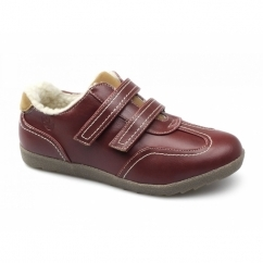 ELM Ladies Faux Leather Velcro Fleece Lined Shoes Red