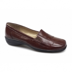 SAGE Ladies Wide Fit Leather Loafers Oxblood
