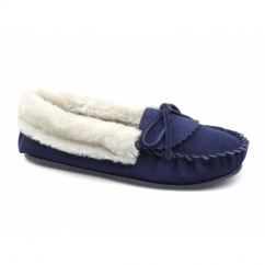 POCA Ladies Suede Warm Lined Moccasin Slippers Navy