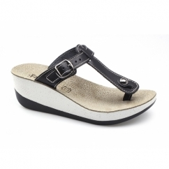 PAXNOS Ladies Toe Post Slip On Wedge Sandals Black