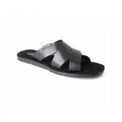 TIBERIUS Mens Waxy Leather Mule Padded Flip Flops Black
