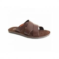 TIBERIUS Mens Waxy Leather Mule Padded Flip Flops Brown