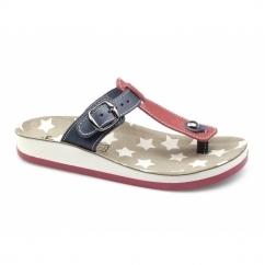 NAXOS Ladies Toe Post Slip On Sandals Red/Blue