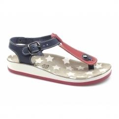 KEFELONIA Ladies Toe Post Flat Sandals Red/Blue