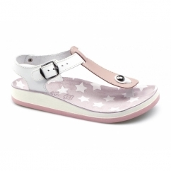 KEFELONIA Ladies Toe Post Flat Sandals Pink/White