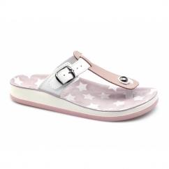 NAXOS Ladies Toe Post Slip On Sandals Pink/White