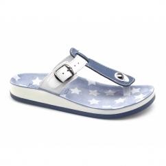 NAXOS Ladies Toe Post Slip On Sandals Blue/White
