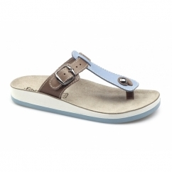 KRIOS Ladies Toe Post Slip On Sandals Blue/Tan