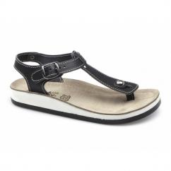 ZANTE Ladies Toe Post Flat Sandals Black