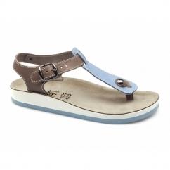 ZANTE Ladies Toe Post Flat Sandals Blue/Tan