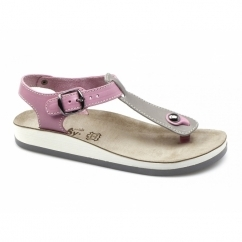 ZANTE Ladies Toe Post Flat Sandals Grey/Pink