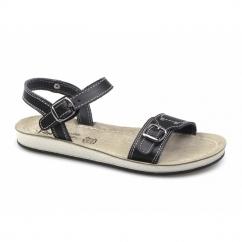 SANTORINI Ladies Ankle Strap Flat Sandals Black