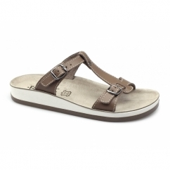 ARILLAS Ladies T-Strap Slip On Sandals Tan
