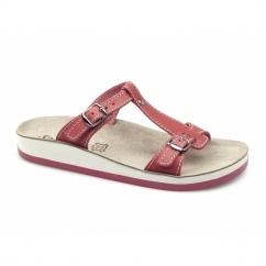 ARILLAS Ladies T-Strap Slip On Sandals Red