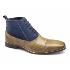 HUGO Mens Cap Toe Balmoral Boot Tan/Navy