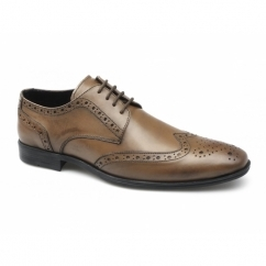 MONTY Mens Leather Brogue Lace Up Shoes Tan