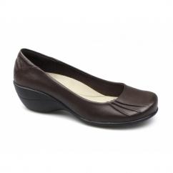 KELLI KANA Ladies Casual Leather Wedge Pumps Dark Brown