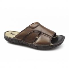 DEVON Mens Leather Mule Sandals Brown